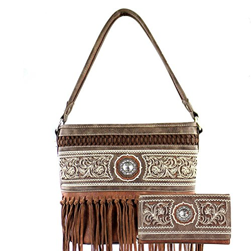 Concealed Carry Purse - Embroidered Knotted Fringe Hobo w/ Matching Wallet by (Embroidered Leather Hobo Bag)