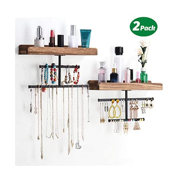 Keebofly Hanging Wall Mounted Jewelry Organizer with Rustic Wood Jewelry Holder Display...