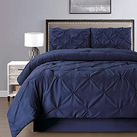 4 Pieces Double-Needle Stitch Goose Down Alternative Pinch Pleat Solid NAVY BLUE Comforter Set KING Size Bedding - Hypoallergenic, Plush Siliconized Fiberfill