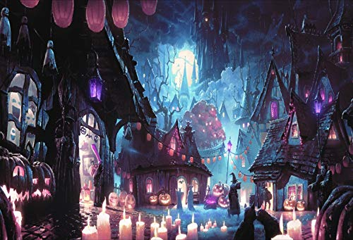 DaShan 5x3FT Spooky Town Backdrop Haunted Castle House