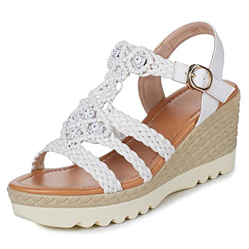 L@YC Women Sandals Slope With Waterproof Platform Casual Ladies High Heel Comfortable Beach Shoes White F8gbHQajN