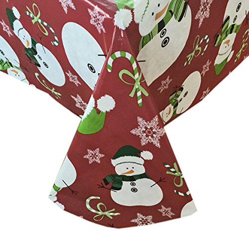 [Snowman Red Snowflake Christmas Flannel Backed Vinyl Tablecloth - 52
