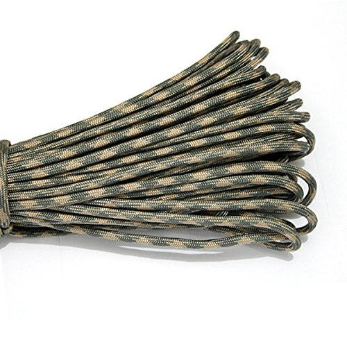 Yougle 550 Paracord Parachute Cord Lanyard Rope 7 Strands Cores Mil Spec Type III 100 Ft 4mm 80 Colors (C41-C60) Free Shipping (C42 CREAM+DARK GRAY) (C42 Colour)