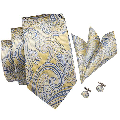 Hi-Tie New Arrival Mens Floral Paisley Tie Necktie Pocket Square and Cufflinks Tie Set Gift Box (Yellow gold paisley)