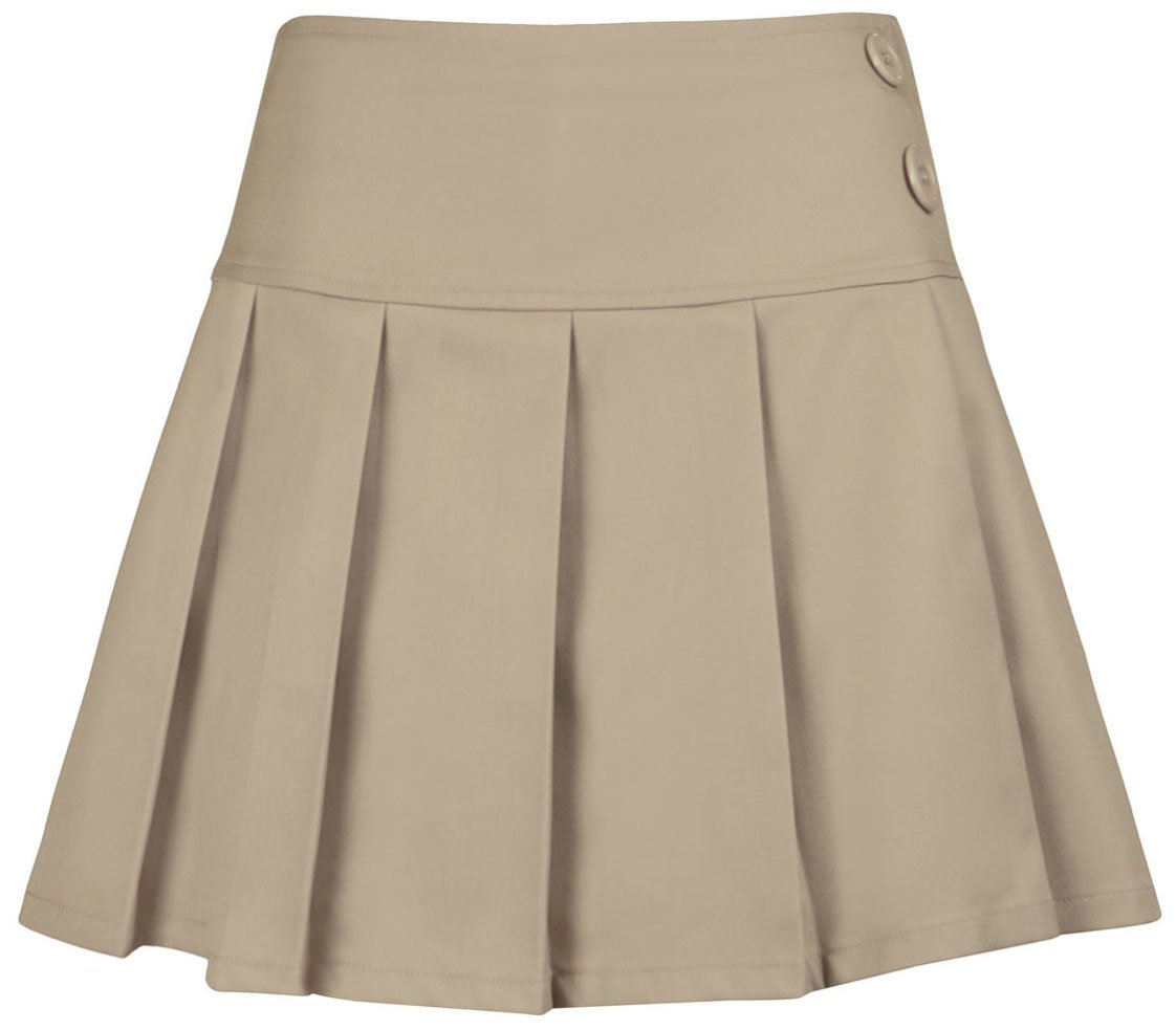 Junior All Over Pleated Scooter Skirt in Khaki (1/2) by Classroom Uniforms