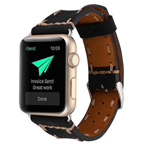 Price comparison product image Kobwa 38MM/42MM Watch Band for Apple Watch, West Cowboy Style Watchband Vintage Cowhide Strap Luxury Genuine Leather Single Tour Replacement for IWatch Series 1 Series 2 Series 3