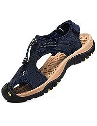 Rismart Men's Closed Toe Walking Fastening Trekking Sport Shoes Suede Leather Sandals