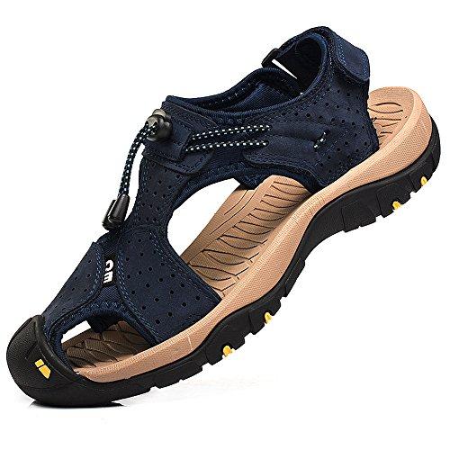 Rismart Mens Punta Chiusa Scarpe Da Trekking Da Trekking Scarpe Sportive Sandali In Pelle Blu Navy
