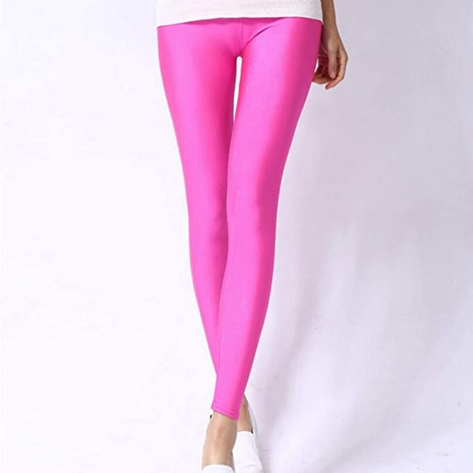 Leggings para mujer de color rosa neón