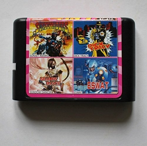 Taka Co 16 Bit Sega MD Game Sunset Riders/ Dick Tracy/ Shadow Dancer/ ESWAT 16 bit MD Game Card For Sega 16bit Game Player