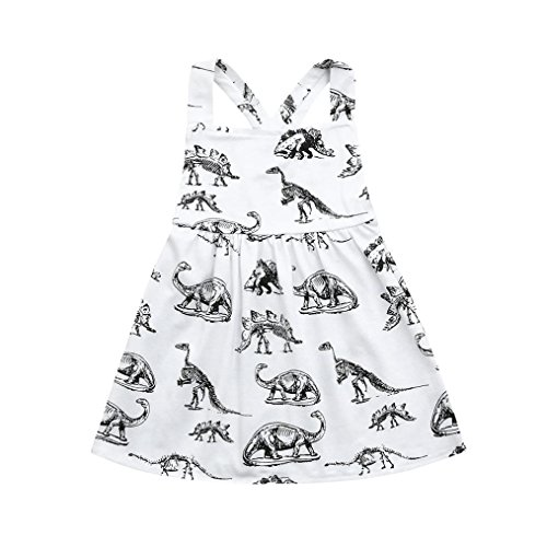 Hatoys Toddler Infant Baby Girls Halter Dinosaur Print Dresses Clothing Outfits (2-3T, White) ()
