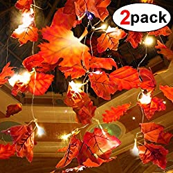 2 Pack Maple Leaves Garland String Lights 40 LED Lights 20ft Waterproof Fall Decoration Seasonal Lights for Party Halloween Thanksgiving Christmas Indoor Outdoor Birthday Gift 3AA Battery Operated