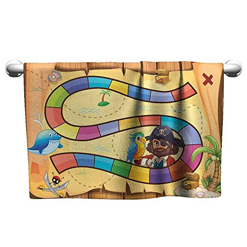 Decorative Towel W28 x L14 Kids Activity,Treasure Hunt in The Adventure of The Pirate Cove Cartoon Drawing Style,Multicolor Charming and Durable and Absorbent - Pirates Hamper Cove