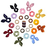 36pcs Hair Scrunchies -GABWE 8pcs Velvet Scrunchies for Hair, 8pcs Satin Scrunchies with Bow, 8pcs Spiral Coil Hair Ties, 12pcs muti-color Elastic Hair Bands,Used for Any Occasions