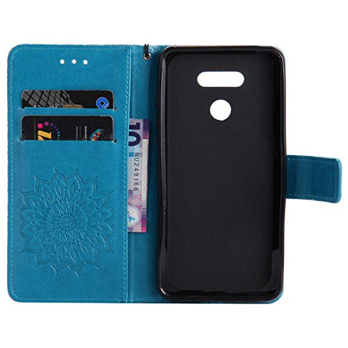 SRY-case La flor entera del sol con una ranura para tarjeta, acollador, hebilla magnética, abierto plano la cáscara del teléfono para LG G6 ( Color : Red ) Blue