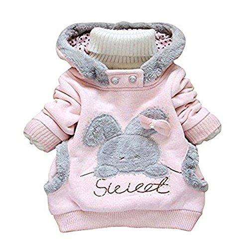 LZH Baby Girls Infant Coat Rabbit Hoodie Autumn Winter Jacket