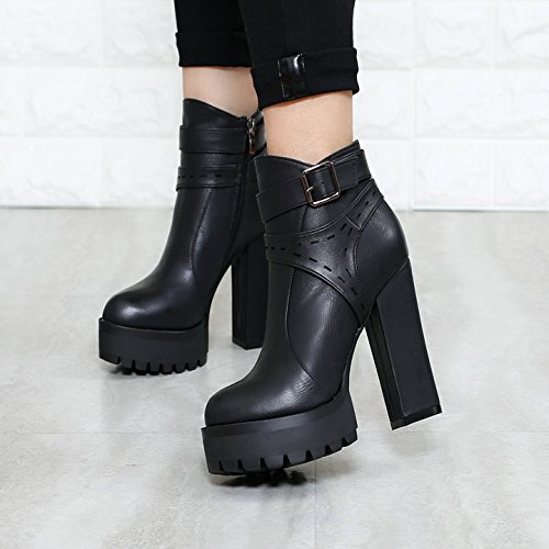 Platform Round Women'S Boots Winter Boots Black Boots Casual Thirty British Short Thick Personalized seven Winter KHSKX Heels Bottom Knight Waterproof Heel Martin High And Head cqIFP5