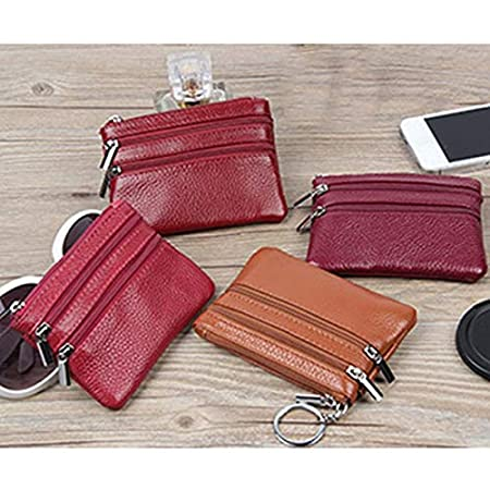 Holder Wallet Zip Key Chain Pouch Leather Zipper Pouch with Key Ring for Keys Headset for Women Weimay Womens Mini Coin Purse Wallet