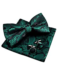 Alizeal Men's Paisley Bow Tie& Hanky& Cufflinks Set (Dark Green)