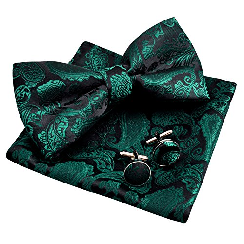 Men's Paisley Bow Tie& Hanky& Cufflinks Set (Dark Green) ()