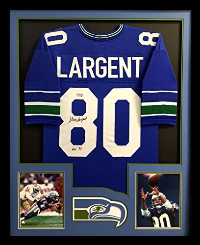 (Steve Largent Autographed/Signed Seattle Framed Throwback Blue Custom Jersey With