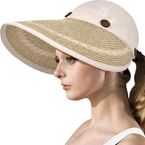 LCZTN Womens UV Protection Hats Sun Visor for Girls Foldable Large Brim UPF Beach Ponytail Cap for Hiking Travel Fishing & Golf (Beige)