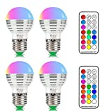 NetBoat Colour Changing Lights,RGB + Daylight White E27 Coloured Light Bulbs, 3W Edison Screw RGBW Bulb ,12 Colors Changing with IR Remote Control,Disco Party Home Mood Ambiance Lighting (Pack of 4)