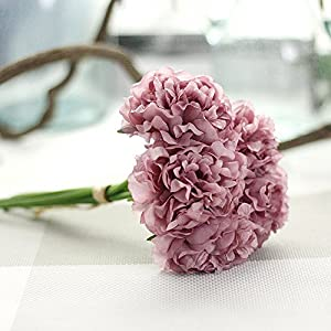 NIHAI Artificial Flower 1 Bouquet 5 Heads Real Looking Fake Peony Silk Floral for DIY Wedding Bouquet Bridal Hydrangea Garden Party Home Decoration 1