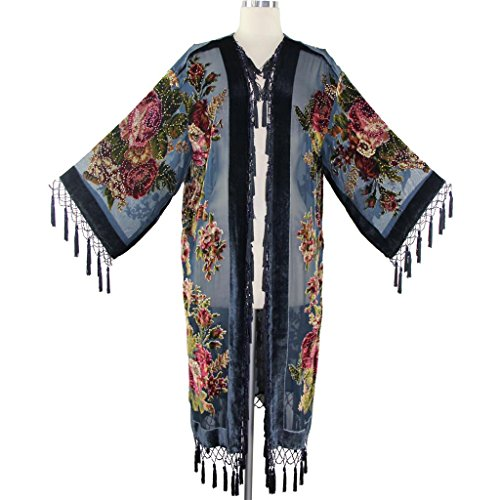 Aris A Women Vintage Floral Silk Burnout Velvet Handmade Beaded with tassels Duster Kimono ()