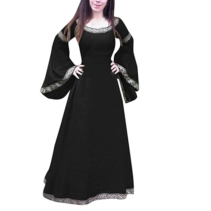 Amazon.com  Toponly Women Cosplay Medieval Dress Renaissance Fit Irregular  Long Sleeve Maxi Classical Dress Beige  Clothing b6529954bbe8