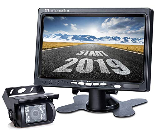 Upgrade Backup Camera Monitor Kit,1024X600 HD,IP69 Waterproof Rearview Reversing Rear View Camera 7'' LCD Reversing Monitor Truck/Semi-Trailer/Box Truck/RV - HD Transmission, Four-pin - DVKNM (TZ101) ()