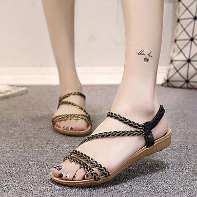 RUGAI-UE Moda de Verano Mujer sandalias casuales zapatos de tacones PU Confort,red,US9 / UE40 / UK7 / CN41 Black