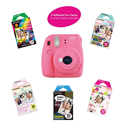 Fujifilm Instax Mini 9 Instant Camera Includes 2 Rainbow Film Packs (20 Photo Sheets Total) | Selfie Mirror, Auto Lens & Light Exposure Setting (Flamingo Pink)