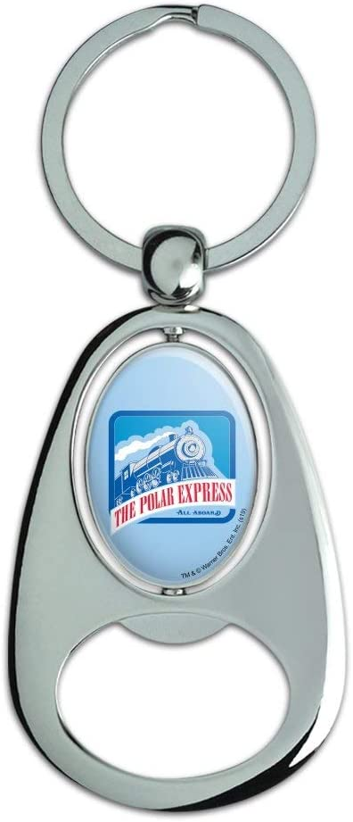 Graphics and More The Polar Express All Aboard Keychain Chrome Metal Spinning Oval Bottle Opener