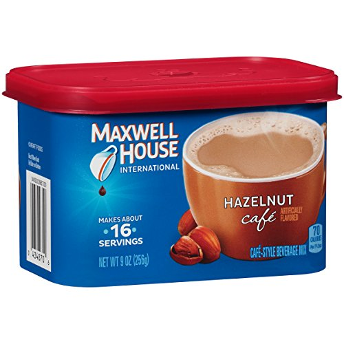 Maxwell House International Café Flavored Instant Coffee, Hazelnut, 9 Ounce Canister (Pack of 4)