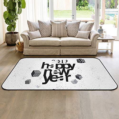 Modern Art Collection Area Rug Indoor Carpets 5'x8' 2019 Happy New Year Floor Mats for Kids Room Living Room Home Decor (Best Budget Vacuum Cleaner 2019)