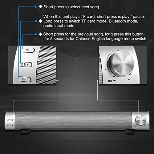 2018 New Sound Bar,Wireless Bluetooth Bass Speakers with Home Theater Surround Sound and 4 Subwoofers Speakers 2 X 5W Sound Bar 2.0 Channel for TV/Cellphone/Tablet by Effort (Image #7)