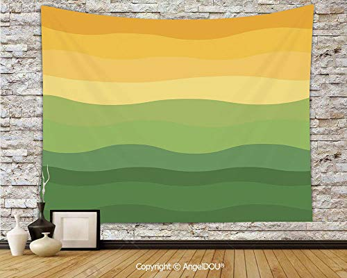 """AngelDOU Polyester Tapestry Background Painting Tarpaulin Green and Yellow Colored Wavy Lines Curves Earth Inspired Decorative Printed Tapestry W70.8""""x L59"""""""