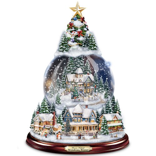 The Bradford Exchange Thomas Kinkade Wondrous Winter Musical Tabletop Christmas Tree with Snowglobe: Lights Up