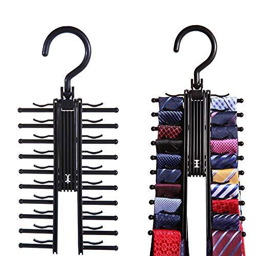 KNIGHTLY LESS 2pcs Tie Rack Scarf Hanger Organizer