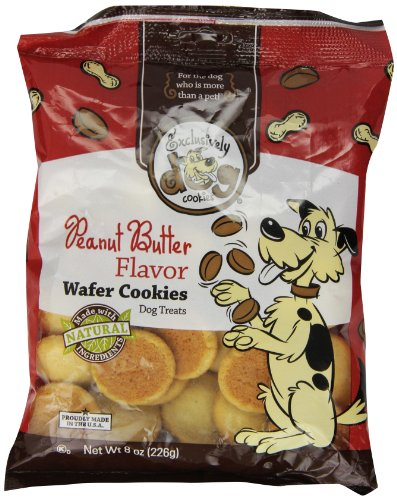 Exclusively Dog Wafer Cookies-Peanut Butter Flavor, 8-Ounce Package (Treat Cookies)