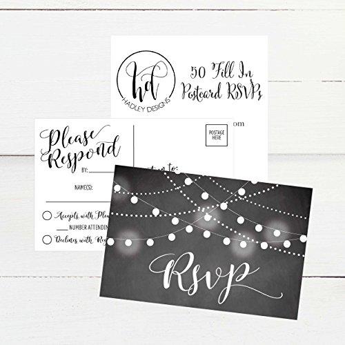50 Blank Chalkboard RSVP Cards, RSVP Postcards No Envelopes Needed, Response Card, RSVP Reply, RSVP kit for Wedding, Rehearsal, Baby Bridal Shower, Birthday, Plain Bachelorette Party Invitations Photo #4