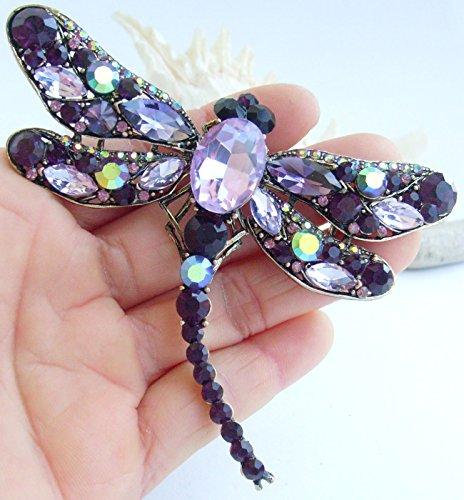 Sindary Elegant 3.74'' Gold-Tone Purple Rhinestone Crystal Dragonfly Brooch Pin Pendant BZ5684 by Animal Brooch-Sindary Jewelry (Image #1)