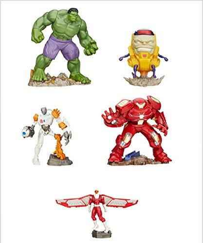 Disney Marvel Avengers Playmation Hero & Villian Smart Figure Set: Hulk, Ultron Bot, Hulkbuster, Marvel's Falcon, & M.O.D.O.K (Heros Vs Mo)