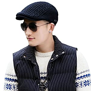 Mens Winter Wool Newsboy Cap Adjustable Cold Weather Flat Cap Soft Lined SIGGI