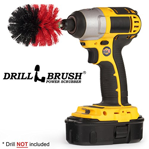 Drill Brush - Outdoor Scrub Brush - Patio, Concrete Pools, Bird Bath, Garden Fountains, Statues - Monuments and Headstones - Granite, Marble Cleaner - Remove Algae, Mold, Mildew, and Moss - Spin Brush