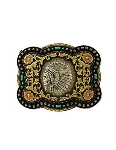 Nocona Men's Indian Chief Skull Belt Buckle, Antique Silver, OS