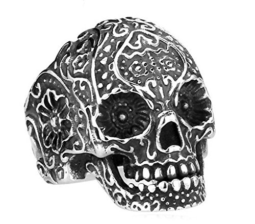 Aooaz 316L Stainless Steel Mens Ring Bands Skull Silver Size 9 Punk Gothic Vintage Novelty Ring (Halloween Makeup Skull Mouth)