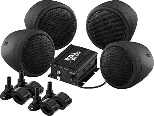 BOSS Audio MCBK470B Weatherproof Speaker/Amplifier Sound System, Bluetooth Amplifier, Four Speakers,...