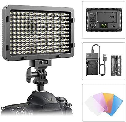 Luz de Video LED, ESDDI Luz de Panel de Cámara Regulable Ultra Brillante 176 LED Portátil con Batería y Cargador para Canon, Nikon, Pentax, Panasonic, ...